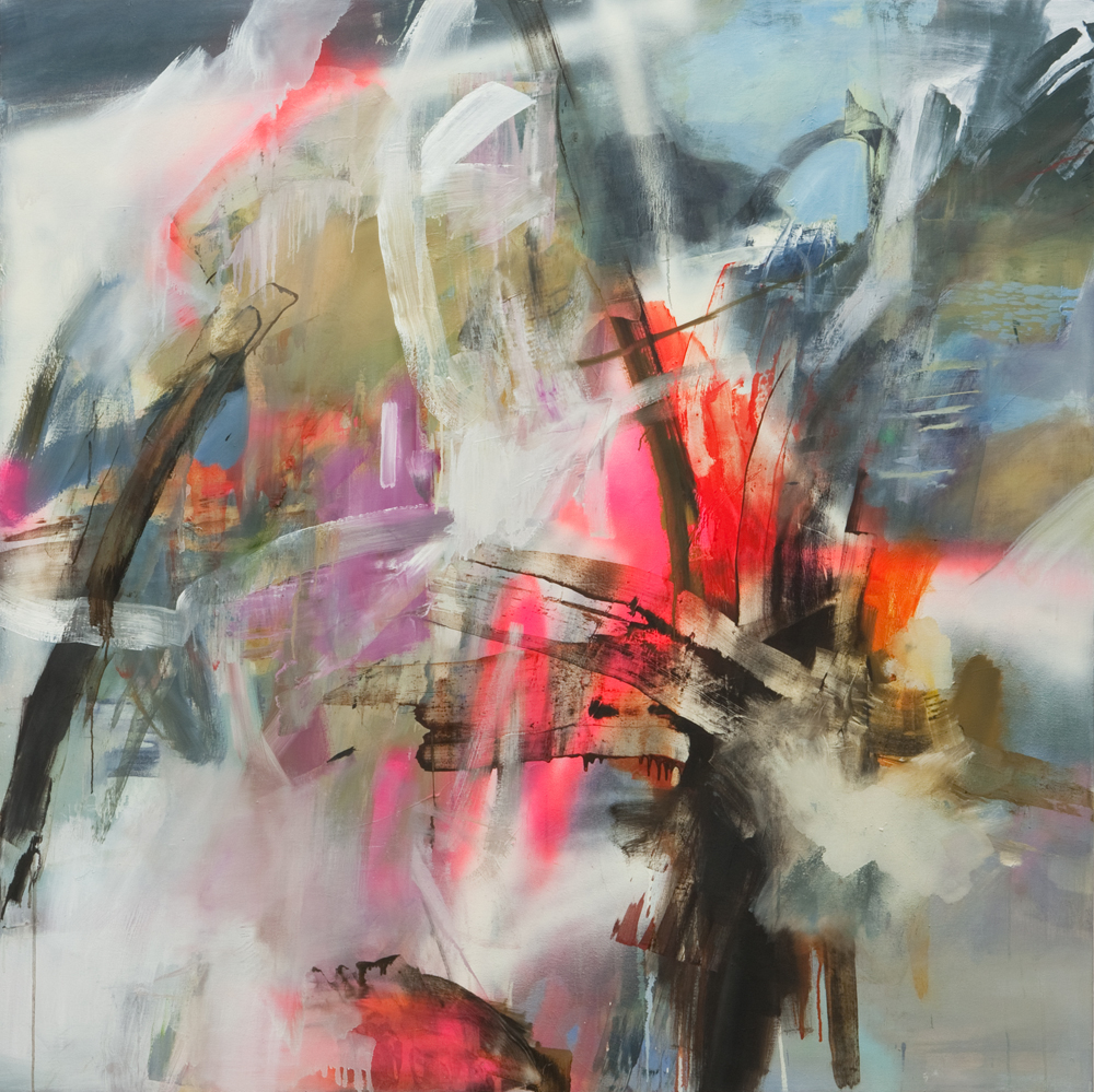 TION, UQBAR, ORBIS, TERTIUS  sold   2012 Mixed media on canvas, 60 x 60 inches
