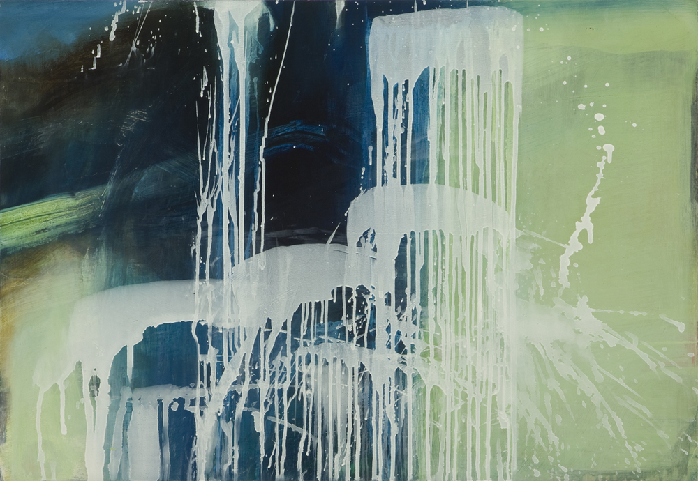 WATERFALL AFTER PAT STEIR AND THE CHINESE  sold   2008 Oil on wood panel, 18 x 26 inches