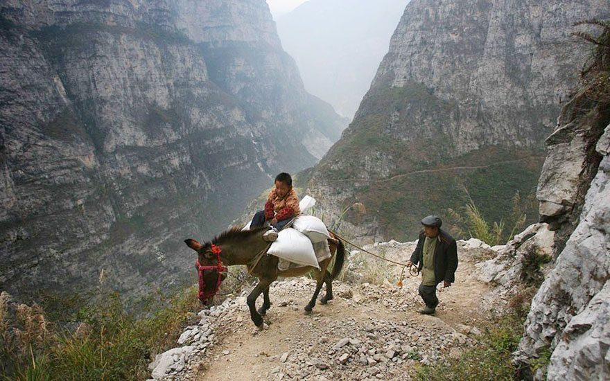 5-Hour Journey Into The Mountains On A 1ft Wide Path To Probably The Most Remote School In The World, Gulu, China
