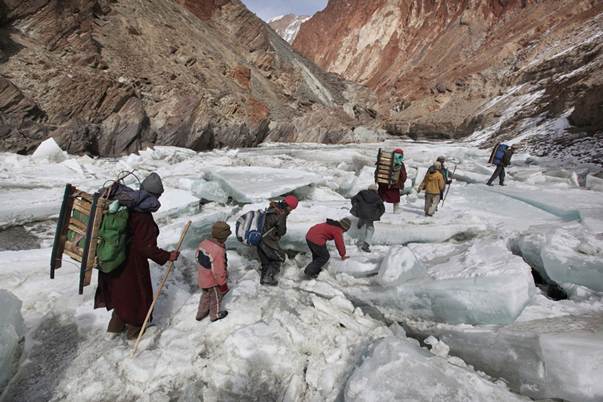 Kids Traveling To A Boarding School Through The Himalayas, Zanskar, Indian Himalayas