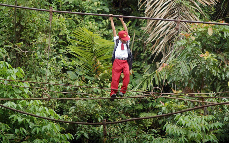 Pupils Walking On A Tightrope 30 Feet Above A River, Padang, Sumatra, Indonesia