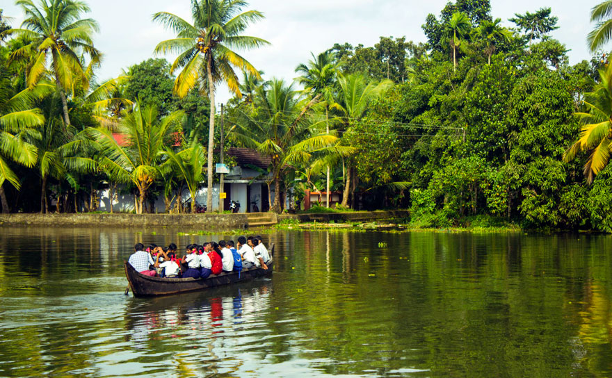 Pupils Traveling By Boat in Kerala, India