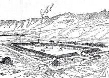 Royal Presidio drawing, 1787 by Russell Ruiz, a descendent of an original Presidio soldier. (Copied from Santa Barbara Newspress article, April 15, 1962)