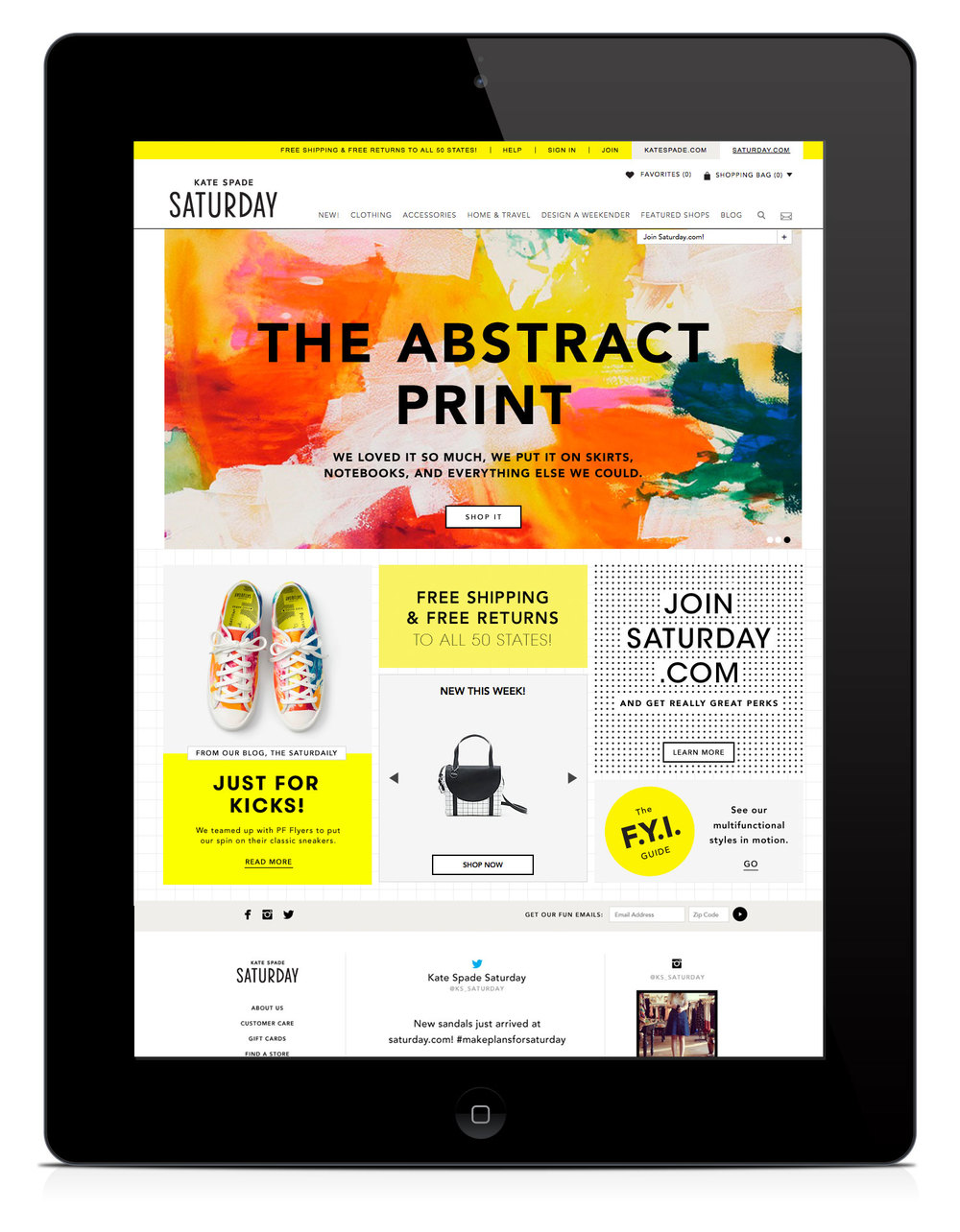 Kate Spade Saturday homepage