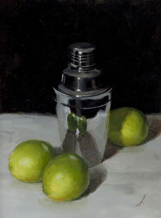 "SHAKER WITH LIMES  12"" x 9"" - Oil on Linen"