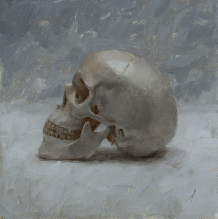 "SKULL IN SOFT LIGHT  12"" x 12"" - Oil on Linen"