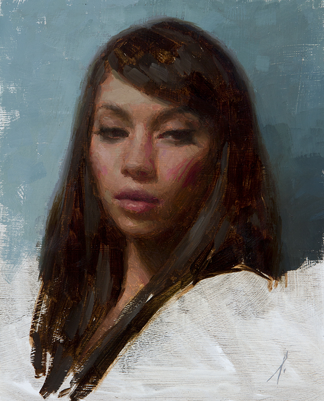 "PORTRAIT OF A YOUNG WOMAN  10"" x 8"" - Oil on Board"