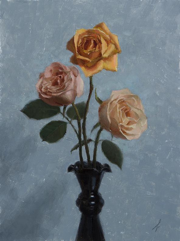 """ROSES  16"""" x 12"""" - Oil on Linen"""
