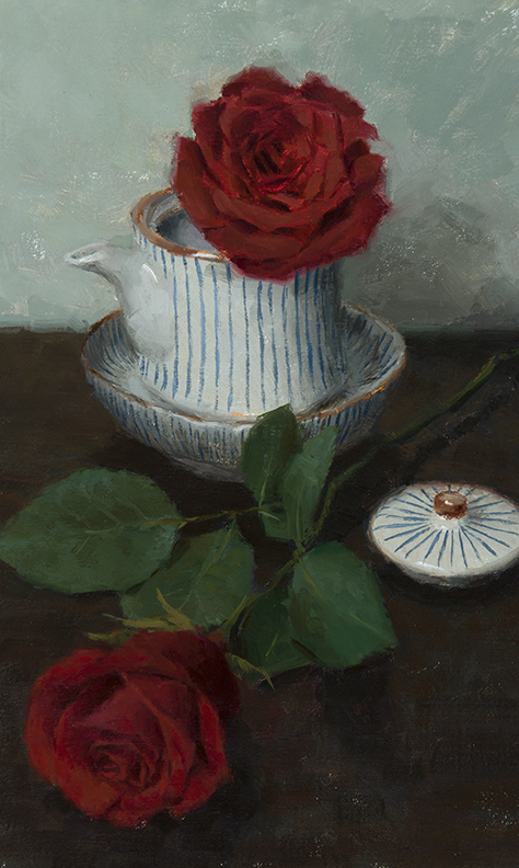 "TEAPOT ROSE  14"" x 8.5"" - Oil on Linen"