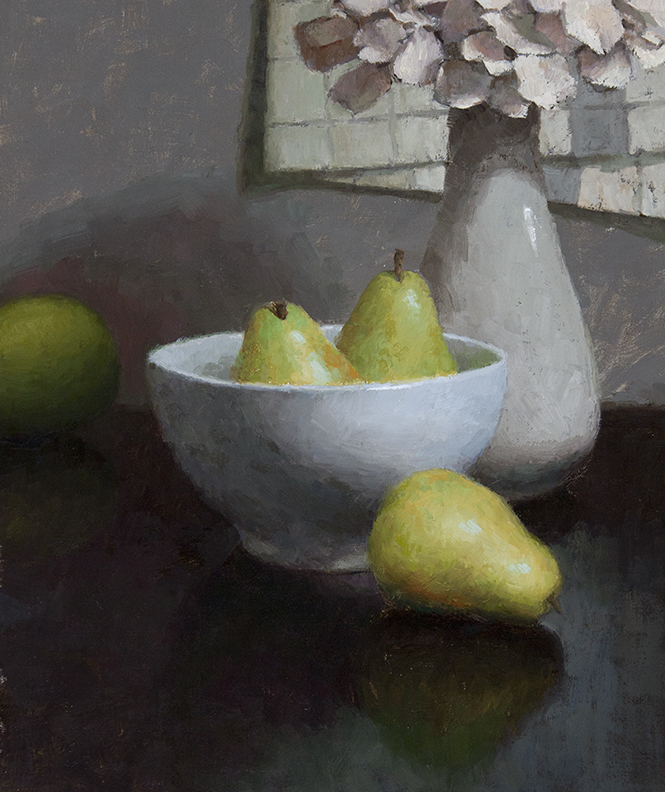"BOWL OF PEARS  13"" x 11"" - Oil on Linen"