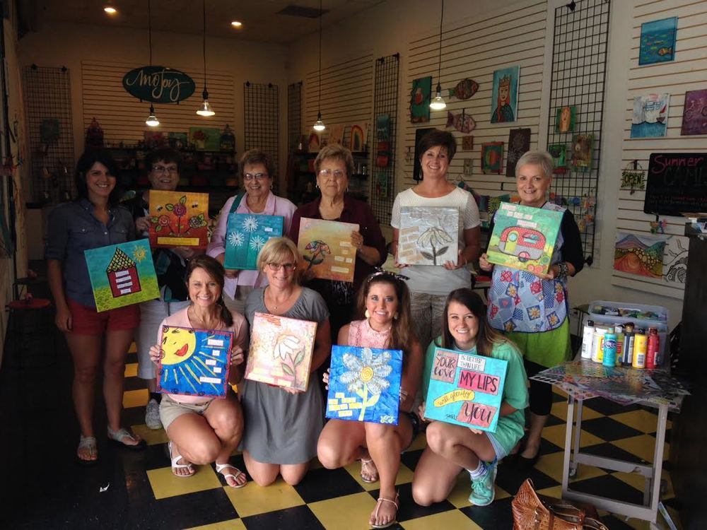 Lana and her friends created some great mixed media pieces at their custom class.