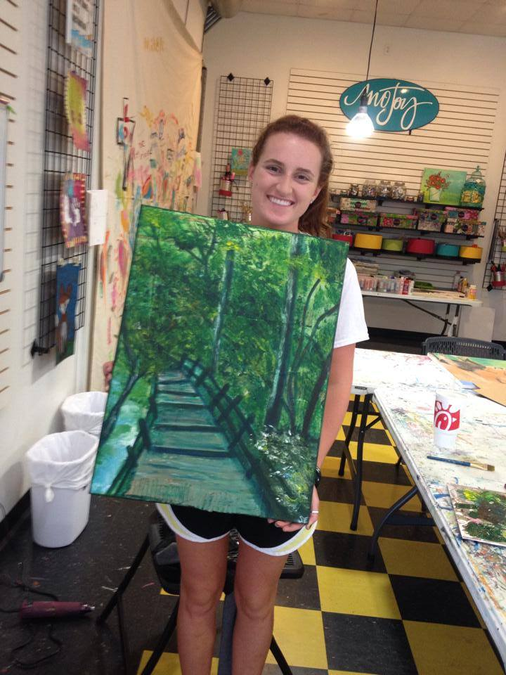 Shelby shows off her first big painting that she created as part of our Artists Unlocked course, Spring 2014.