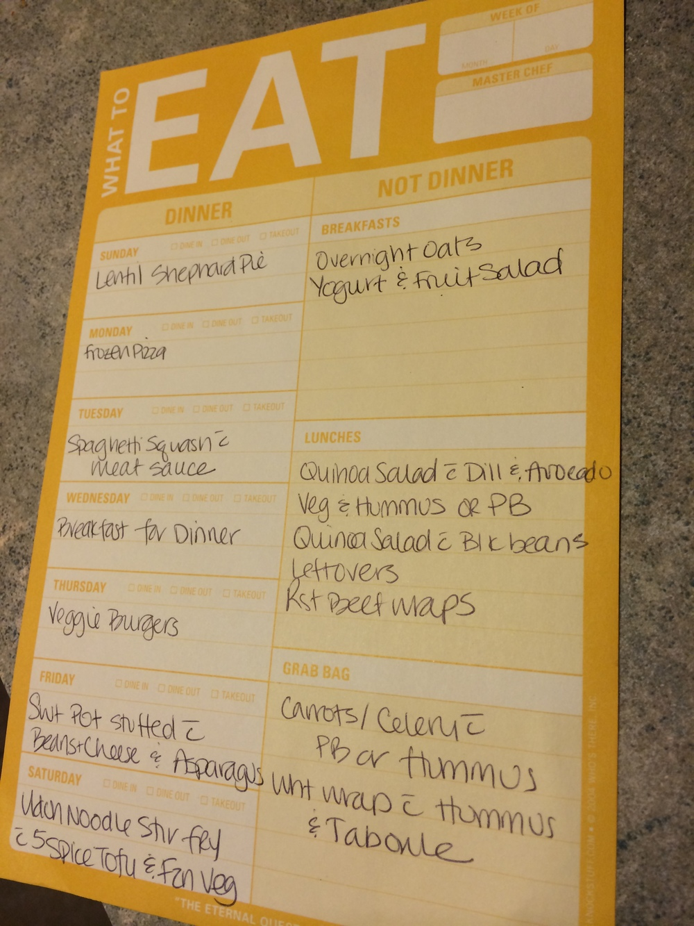 Use a meal planning template to help you write down your ideas for the week's meals. You can make one yourself or purchase one like this, made by Knock Knock Stuff and available for purchase  here .