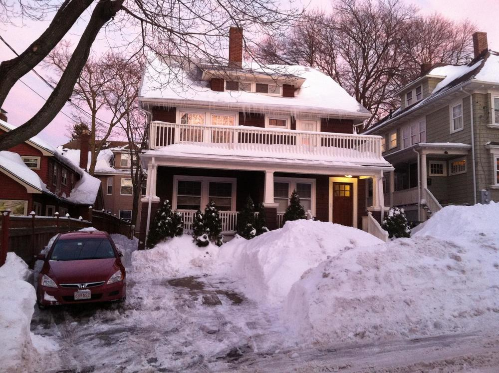 7-foot tall snowpiles!