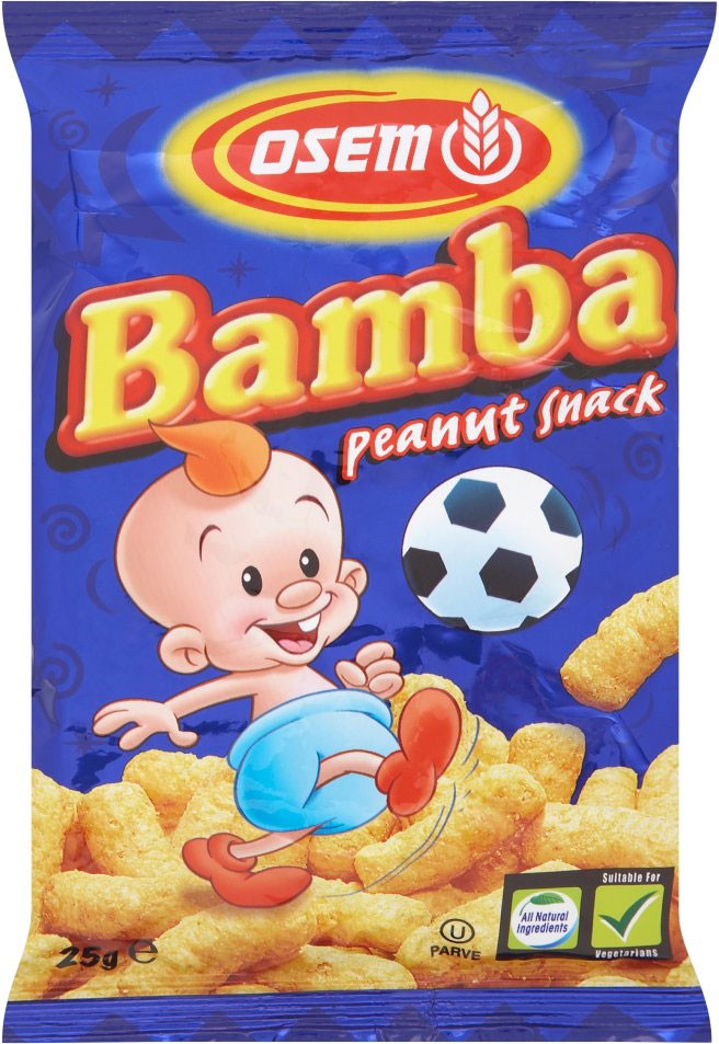 Bamba is a popular peanut puff snack for children in Israel. If you live in the Northeast you can find it at Wegmans.