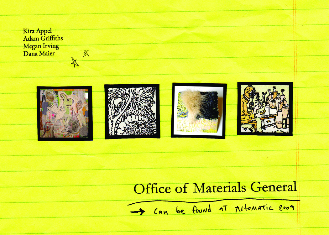 Office of Materials General - Work by Megan Irving, Adam Griffiths, Dana Maier and Kira Appel