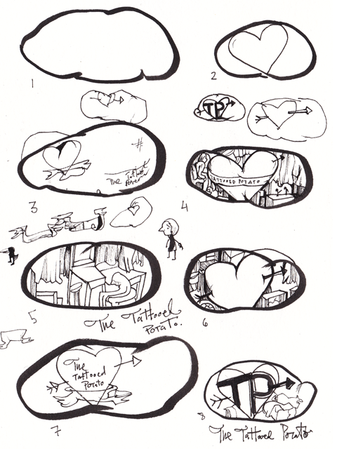 Rough Sketches for The Tattooed Potato