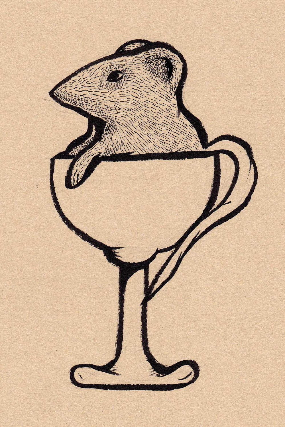 Mouse in a Cup original drawing. 5x7,'' matted at 8x10.'' $45, signed.