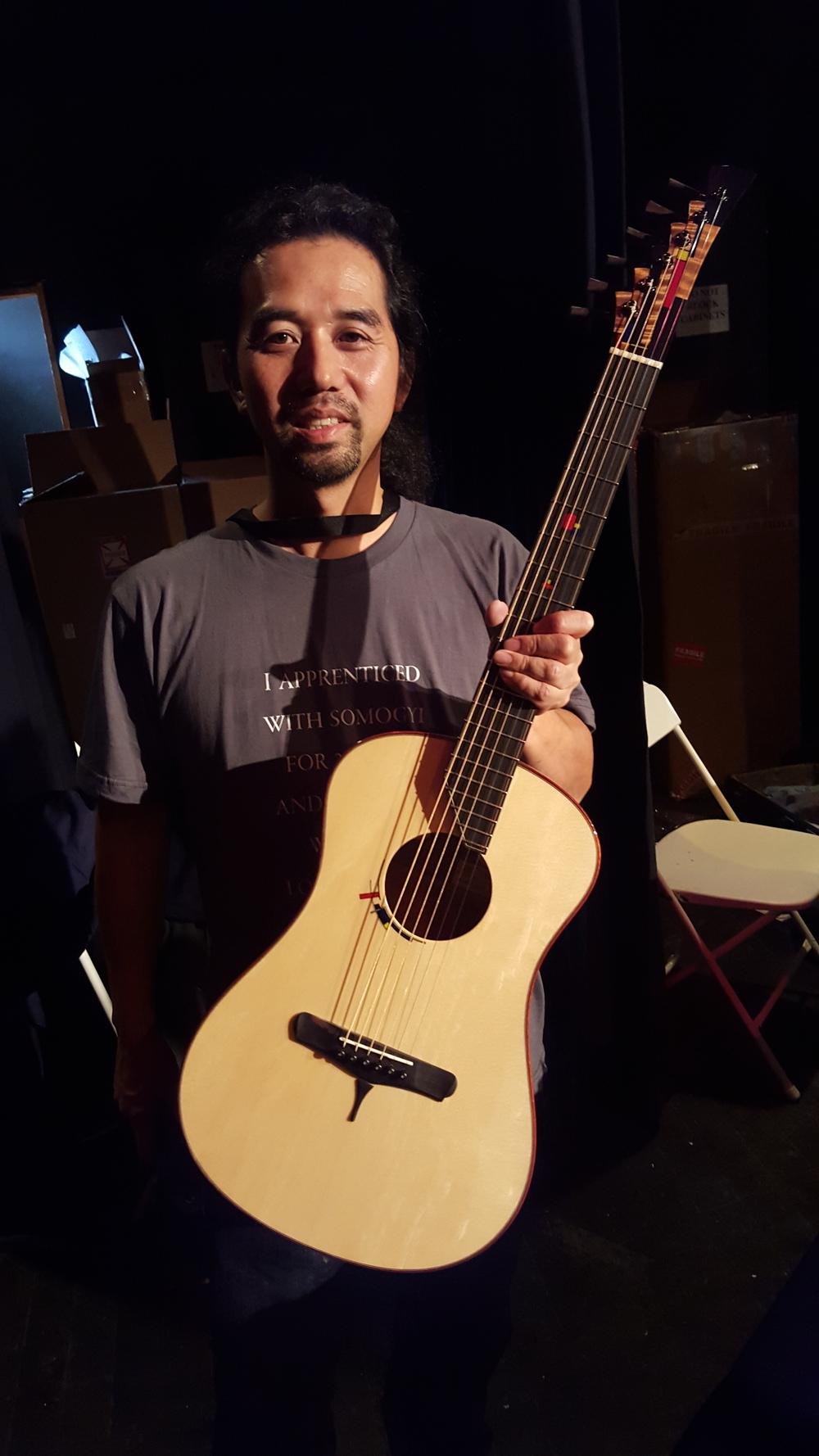 Michihiro Matsuda with his Piet Mondrian inspired guitar.