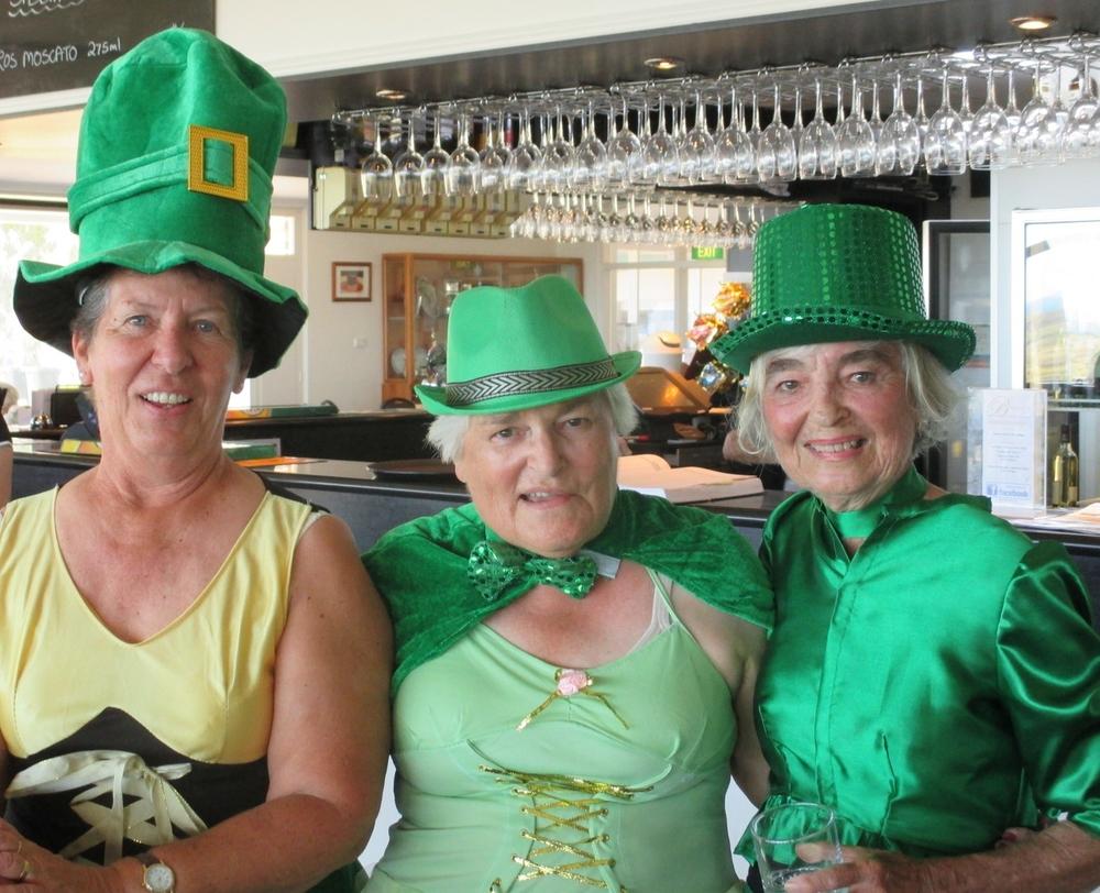 The 2015 Margaret Kavanagh Trophy Our resident little leprechauns! L to R: Ladies Captain, Libby Bancroft, Faye Williss & Di Pratt