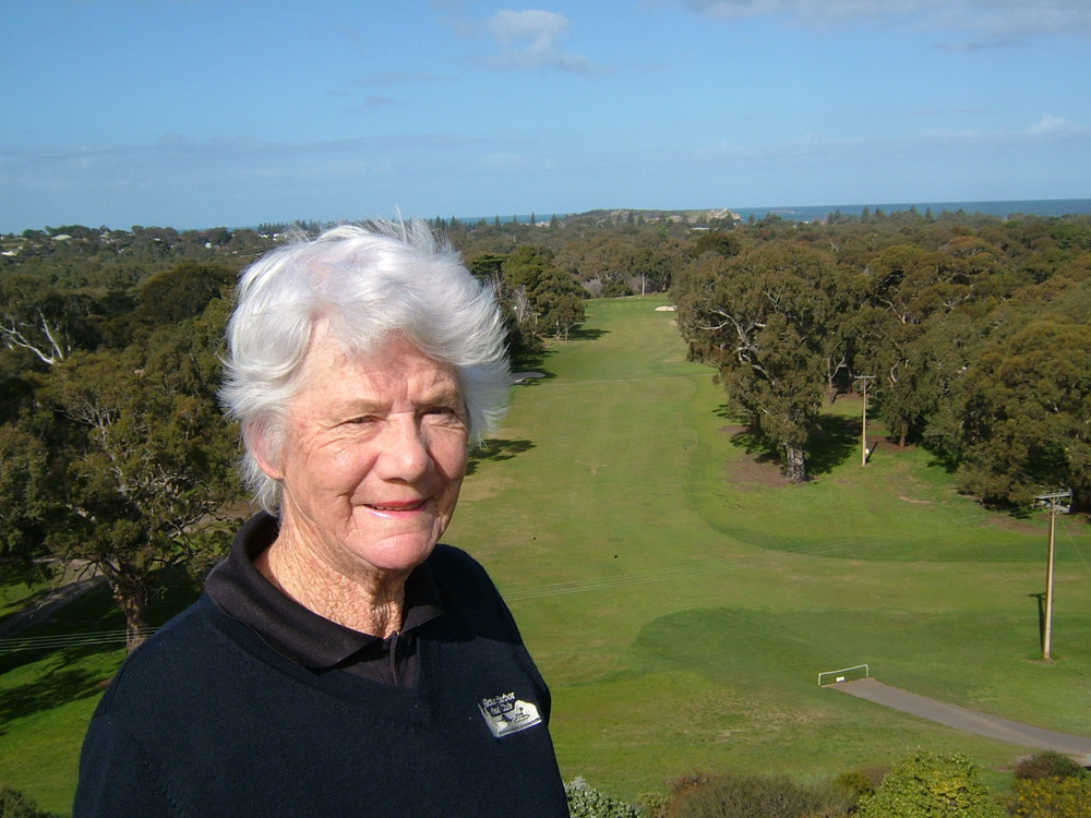 Ruth Kavanagh standing on the 1st Tee at Victor Harbor Golf Club. The 1st Tee is inducted into Golf Digest's Iconic Holes Hall of Fame.