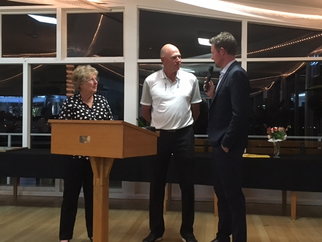 L to R: Major Sponsor Judy Hyde, Winner Peter Fowler and PGA member Darren Baynes