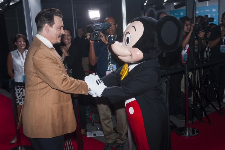 Johnny Depp got his wish and met Mickey Mouse. Photo courtesy Disney.