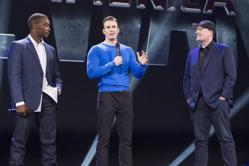 Anthony Mackie, Chris Evans and Marvel Studios president Kevin Feige. Photo courtesy Disney.