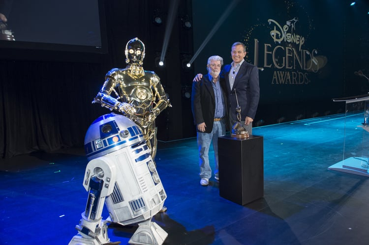 George Lucas received his Disney Legend honor from Walt Disney chairman and CEO Bob Iger. Photo courtesy of Disney.