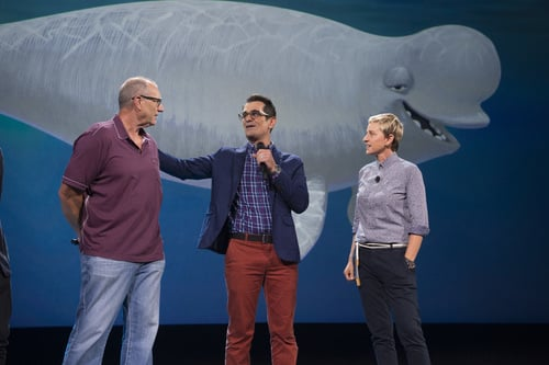 Ed O'Neill, Ty Burrell and Ellen DeGeneres speak about Finding Dory at D23. Photo courtesy ABC/Image Group LA.