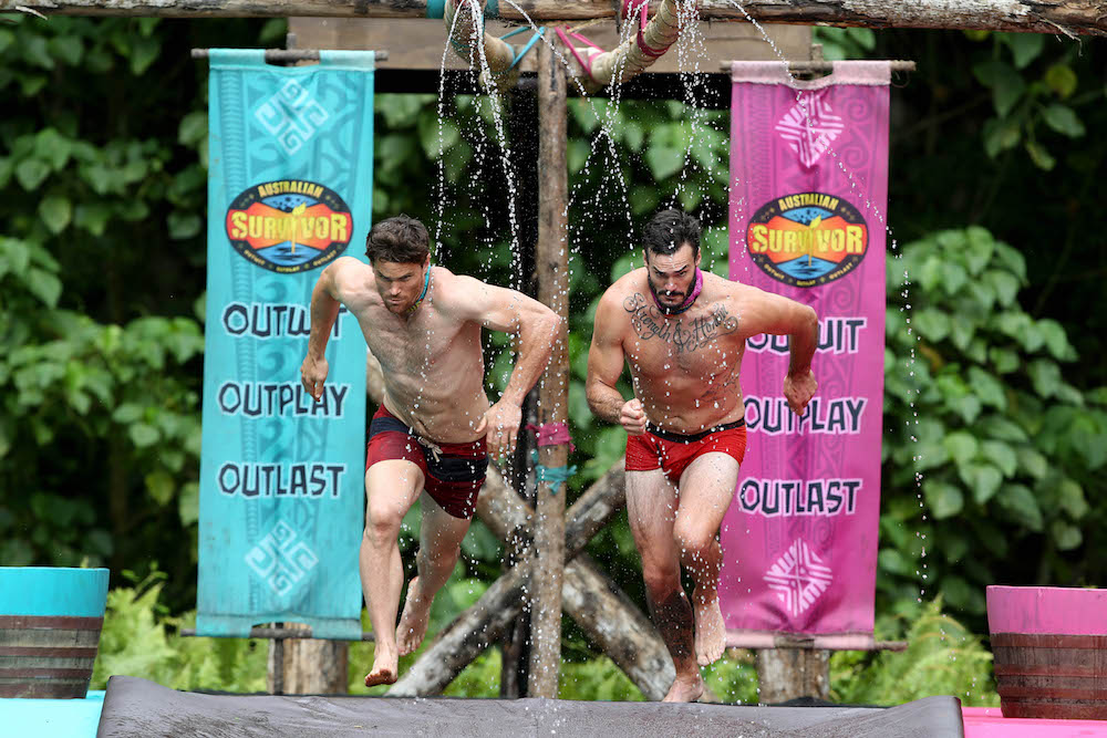 Mark W (left) and Locky compete in Samoa for season 2 of Australian Survivor, airing on Ten this fall. Photo courtesy of Network Ten.