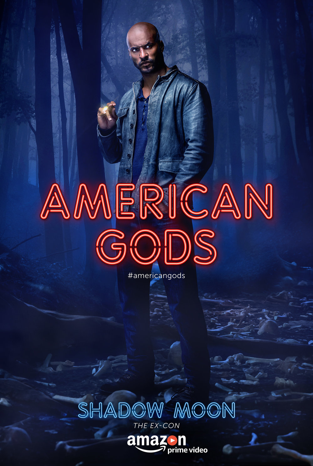 "On becoming Shadow Moon, the central figure of Neil Gaiman's 2001 novel American Gods, Whittle says, ""It's not just picking up any fictional character. it's almost like doing a biography now. You know, I'm Daniel Day-Lewising the heck out of it because he's a real person to so many fans."" Photo courtesy of Amazon Prime Video."