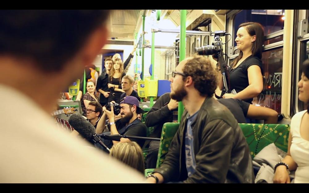 Luisa Mirabilio - Live tram gig w/ Paul Kelly, 2012
