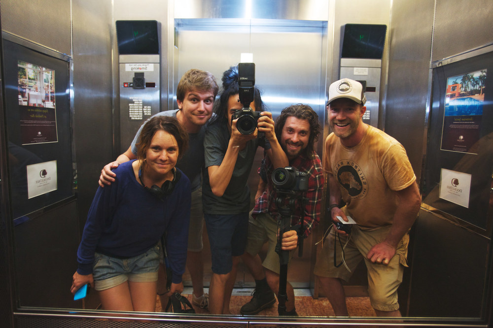 Day 7, Shitbox Rally 2014. [Left to right] Luisa Mirabilio, Simon Koloadin, Jarrad Seng, Cam Suttie and James Freeman.