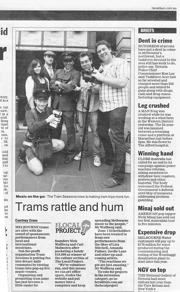 Tram Sessions, Sydney Morning Herald article 2011