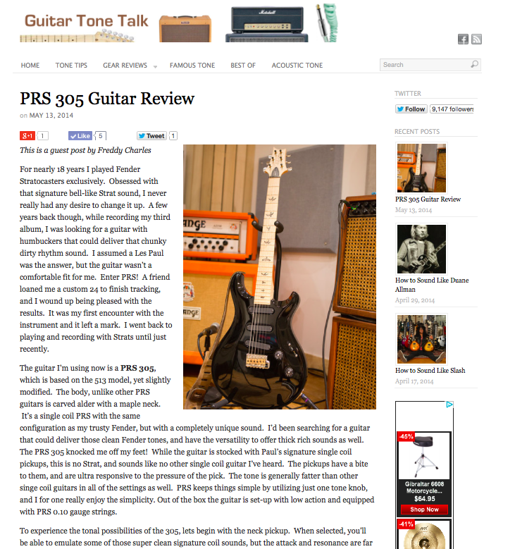 Guest article in Guitartonetalk.com