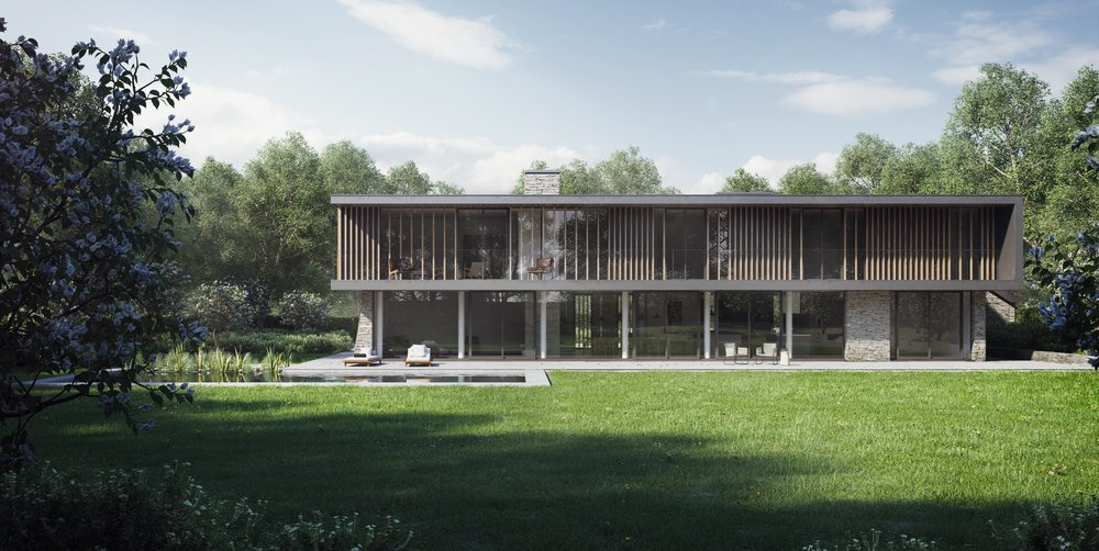 CGI of new detached villa designed to meet the PassivHaus energy performance standard.