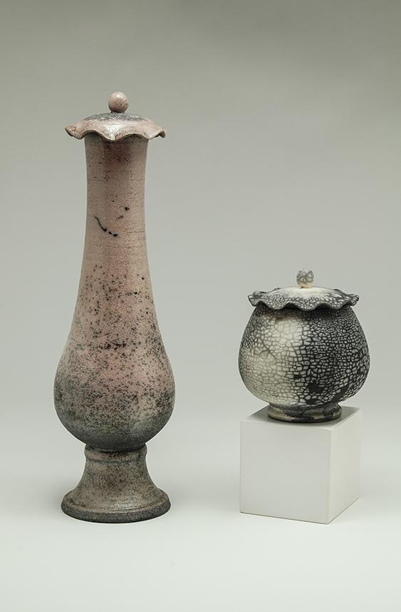 Vase et pot à couvercle raku - Pièces uniques