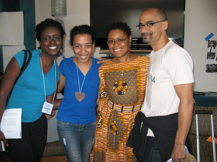 Me wearing Zi's heart at VONA 2011 with amazing writers, Danielle Charlestin, Ibi Zoboi, & Juno Díaz.