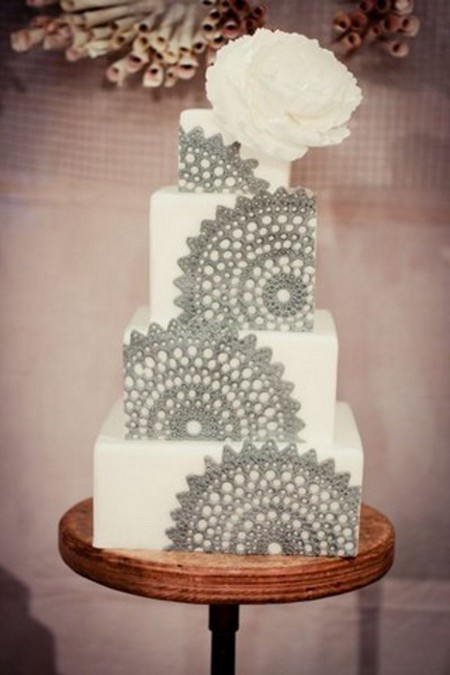 white-and-grey-lace-wedding-cake