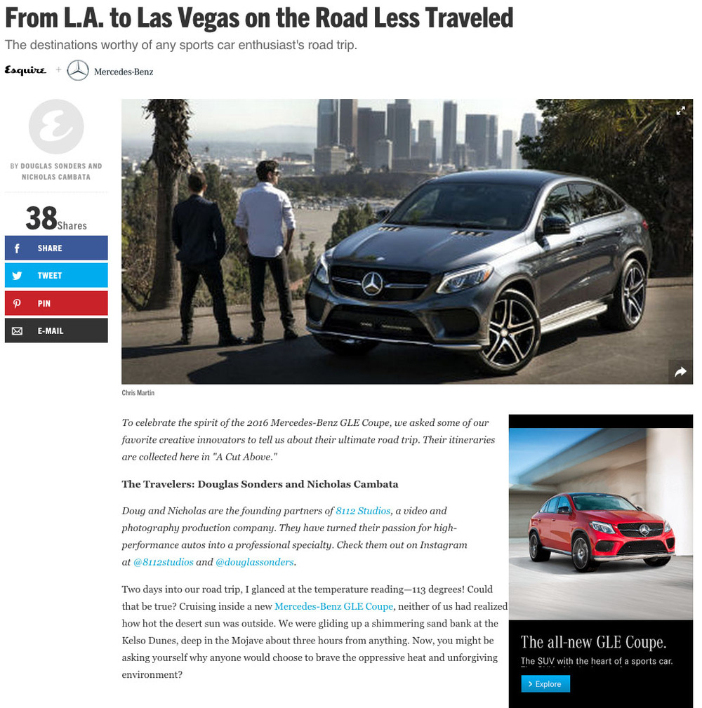 Nicholas and Douglas starred in an ad campaign for the new Mercedes GLE Coupe, which was featured in Esquire, Car and Driver, and Road and Track