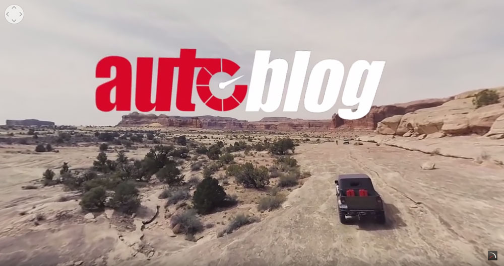 We used a drone with our virtual reality camera attached to capture b-roll aerial footage of the offroad Jeep course in Moab and the Crew Chief driving the course. (Video screen capture)