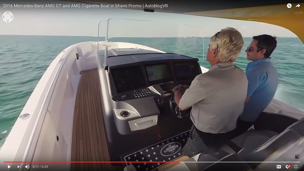 Riding on the AMG GTS Cigarette Boat in Miami. (Video screen capture)