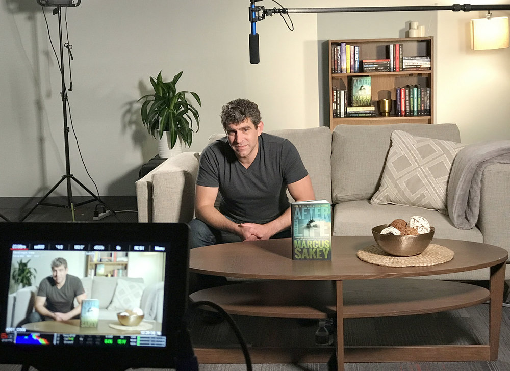 Behind the scenes photo of filming author promos.