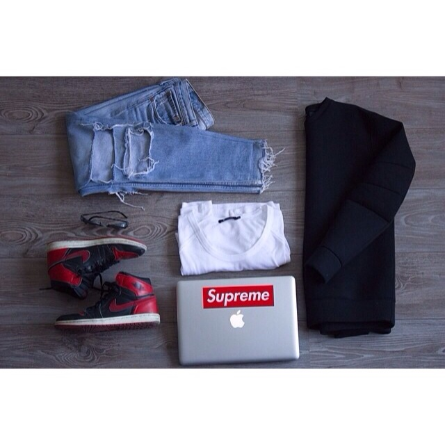 @princeandjeans Lanior denim and neoprene top. Alexander Wang tee , and Bred 1s.