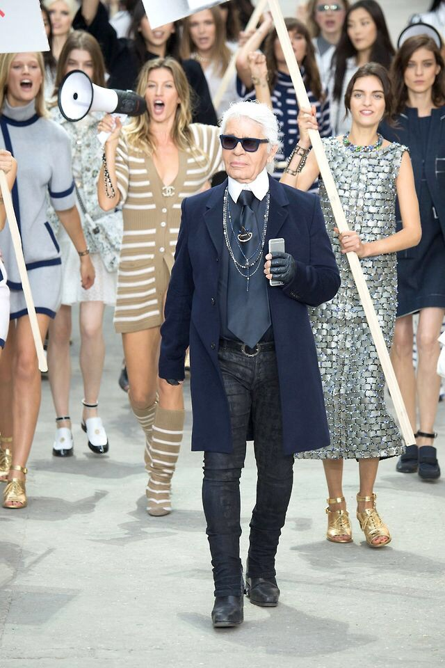 Karl Lagerfeild at the Chanel show finale.