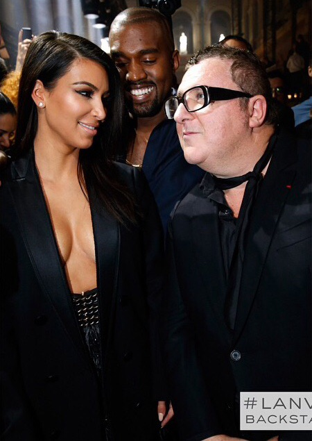 Kim and Kanye backstage with Lanvin's creative director Alber Elbaz.