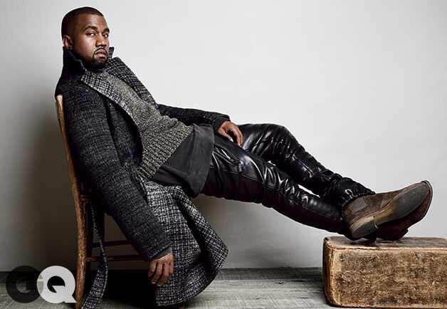 Kanye GQ spread wearing En Noir pants, Vintage Levi's Sweathshirt, Calvin Klein Overcoat And Botegga Veneta Chelsea boots.