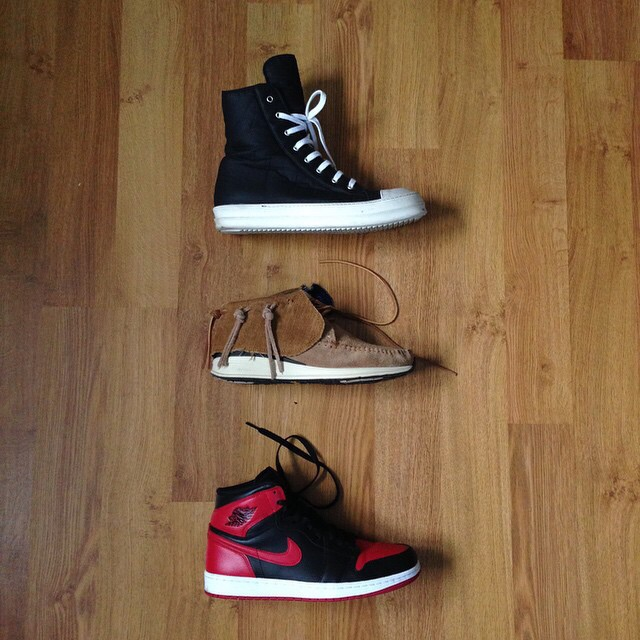 @imjvii with a great example of a sneaker rotation. Rick Owens, Visvim, Jordan Bred 1s.