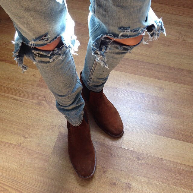 @imjvii photo of distressed denim and chelsea boots. Great Winter essentials.